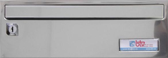 Buzon Btv Barajas - Cuerpo negro y puerta de acero inoxidable brillo. Tamaño revistero.